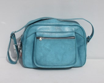 Vintage Aqua Turquoise Travel Bag Carry On Overnight Bag American Tourister