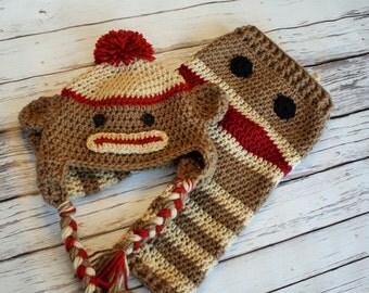 New - Crochet Sock Monkey Hat and Pants - Baby Sock Monkey Pants - Sock Monkey Pants and Hat -  Baby Pants- by JoJo's Bootiqu
