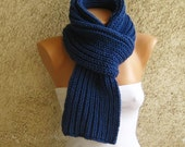 Navy Men Scarf Long Thick / Knit Ribbed Unisex Scarf / Blue Alpaca Wool Double face Scarf / Winter Fall Accessorie / Christmas Gift idea
