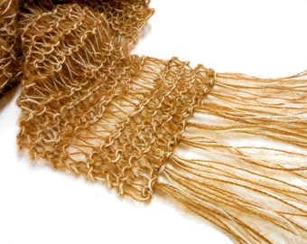 "Light Brown Knit Scarf, Lacy Drop Stitched 78"" Scarf, Lightweight Scarves, Fringed Brown Scarves"