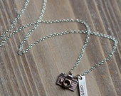 Camera Necklace - Hand Stamped Capture Life Photography Necklace - Sterling Silver - Photographer Gift