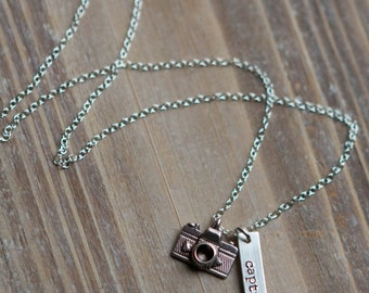 Camera Necklace - Hand Stamped Capture Life Photography Necklace - Sterling Silver - Photographer Gift - Capture Life Necklace