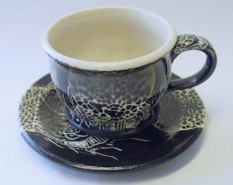Barcode Mandala Cup and Saucer Set
