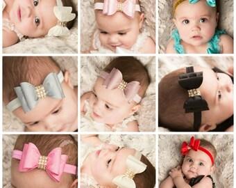 Baby headbands,white headband,Pink Headband,Ivory Headband,Big Bow Headband, Baby Headband, Black Headband, Grey Headband, Red Headband.