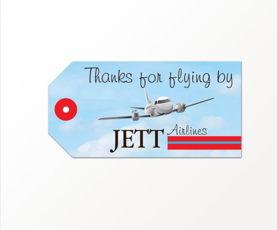 Airplane Birthday Party Favor Tags: Airplane Party Favor Tag PRINTED Or PRINTABLE Plane By