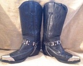 Authentic Sexy Vintage Genuine Black Leather Cowboy Boots sz 38 Womens Cowgirl Boots 7.5 Silver Tips & CHAIN Belts from Eclectic Gatherings