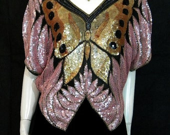 Vintage Silk Sequined Beaded Butterfly Blouse