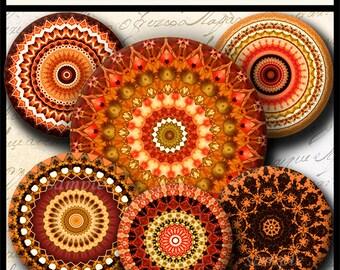 INSTANT DOWNLOAD Orange Mandalas (709) 4x6 and 8.5x11 ( 30mm ) Digital Collage Sheet glass tiles cabochon pendants images