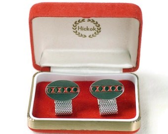 Hickok Cuff Links Silver Tone with Red Enamel
