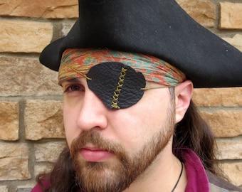 Pirate Eye Patch, LEFT EYE - Black Leather, Distressed, Hand Sewn - One Size - ooak - Pirate/Steampunk/Villain/Renaissance/Medieval/LARP