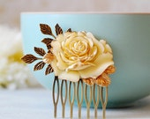 Ivory Rose Bridal Hair Comb. Wedding Hair Accessory. Vintage Style Rose Brass Leaf  Hair Comb, Country Wedding Woodland Wedding