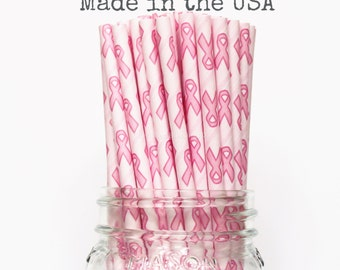 25 Breast Cancer Awareness Paper Straws, Pink Ribbon Paper Straws, Party Event, Cake Pop Sticks, Paper Goods, Table Setting, Made in USA