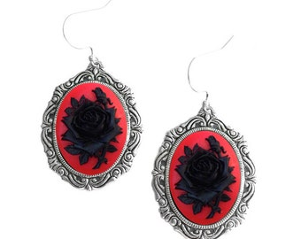 Rose Cameo Dangle Earrings. Gothic Red Black Rose Vintage Style Antique Silver Oval Hook Earrings. Bithday Christmas Gift