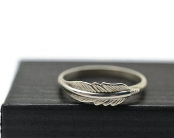 Silver Feather Ring, Handforged Sterling Silver Ring, Feather Jewelry