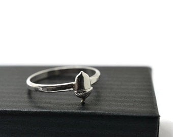 Silver Acorn Ring, Sterling Silver Nature Jewelry, Acorn Jewelry