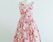 "Sale - Vintage inspired dress - English Rose Dress, Size- bust 34"" - 87cm - Sale - Last dress"