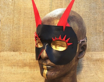 Red and Black Demon - Handmade Leather Mask  - Warrior Fantasy Renaissance Masquerade