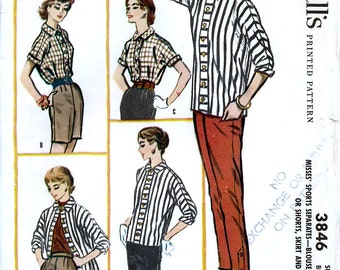 McCall's 3846 Vintage 50s Misses' Blouse, Pants or Shorts, Skirt and Jacket Sewing Pattern - Uncut - Size 12 - Bust 32