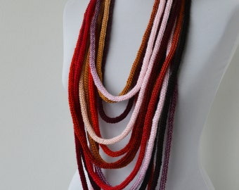 30% OFF SALE - Knit Scarf Necklace - loop scarf-infinity scarf-neck warmer-knit scarflette-in burgundy,gray,brown,beige,gold,red,black  E104