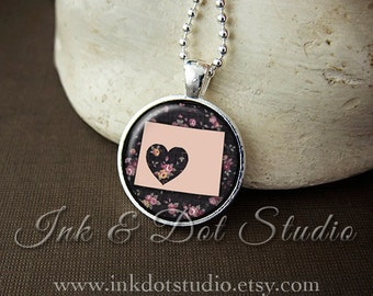 Floral Wyoming State Necklace, Wyoming Love Pendant, Pink Wyoming State Pendant, Wyoming Gift, WY State