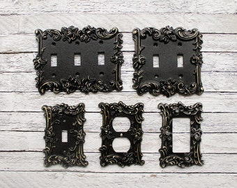 Light switch coverdouble iron switch platesingle switch light switch cover in victorian black switch cover lightswitch cover light switch sciox Image collections