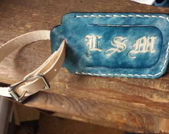 Leather Luggage Tag with Initials and Optional Quote - Coastal Blue and Natural