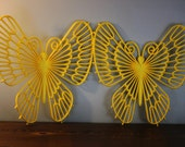 Vintage Plastic USA Burwood Yellow  Butterfly Wall Hanging - 1970s