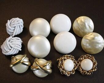 Vintage White Earrings - Mid Century White Round Clip On Earrings  - Destash 6 Pairs