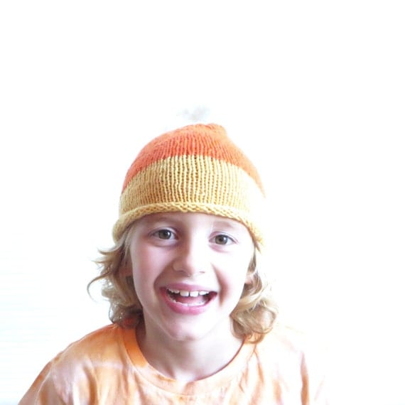 Candy Corn Hat - Child Size - Soft Hand Knit - Made to Order