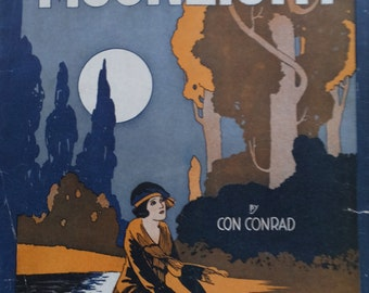 1921 Moonlight by Con Conrad Song Book Sheet Music