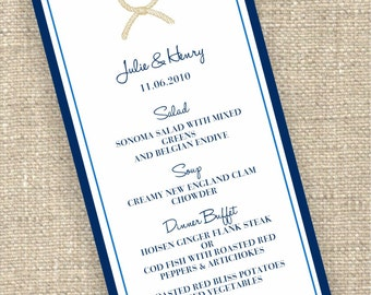 Nautical Knot- Wedding Menu