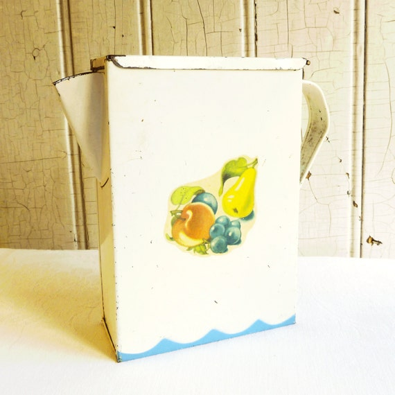 Vintage blue and white tin metal laundry soap by kitschyvintage - Soap flakes dispenser ...