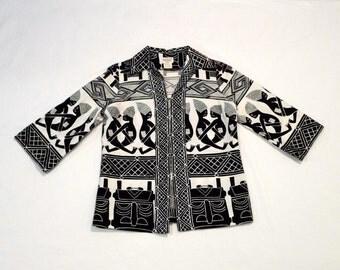Hawaiian Shirt Jacket Vintage 1960s Tribal Swimsuit Cover Up Tiki Beach Jacket Aloha Shirt Polynesian Tribal Lester Melnick Dallas Texas