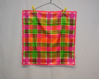 1960s Bright Plaid Scarf