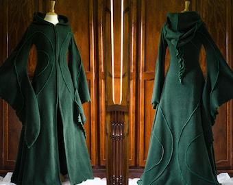 Floor Length Haunted Hawtin Coat ~ Long Green Coat ~ Woodland Wear ~ Custom made to order ~ Gothic ~