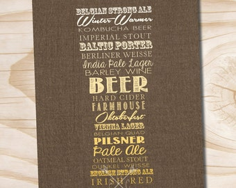 craft beer poster typography beer glass printed 8x10 poster