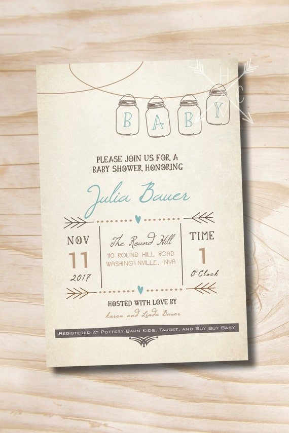 mason jar invitation baby shower invitation printable digital file