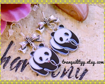Panda Earrings, Love Tibetan Alloy Charm Earrings By: Tranquilityy