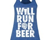Will Run for Beer Women's Flowy Racerback Tank