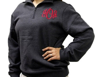 Monogrammed UNISEX 1/4 Zip Sweatshirt, Monogram Pullover Sweatshirt, Monogram, Ladies Zip Up, Ladies Sweatshirt, Monogram Sweater