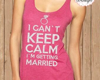 I cant keep calm I am getting married, Eco Blend Flowy Racerback Tank, Cross Training, Running Tank, Marathon Tank