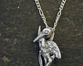 Sterling Silver Stork Pendant on Sterling Silver Chain.