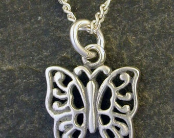 Sterling Silver Butterfly Pendant on Sterling Silver Chain.