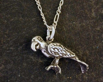 Sterling Silver Parrot Pendant on a Sterling Silver Chain.