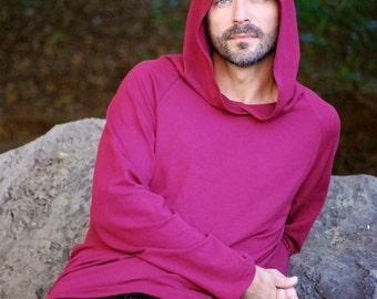 Eco Friendly Hoodie in Burgundy Wine - Organic Clothing - Raglan Sleeve - Red - Men