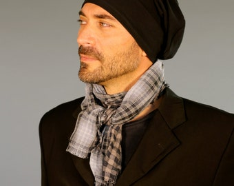 Men's Hat - Unisex Hat - Slouchy -  Black - Eco Friendly  Jersey - Organic Clothing
