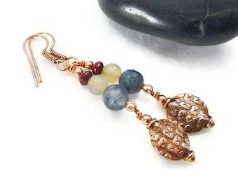 Agate Earrings, Dangle Earrings, Bohemian Earrings, Stone Earrings,Copper  Earrings
