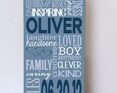 Personalized Child Sign, Nursery Decor, Boy Room Decor, Wall Decor for Nursery, Wooden Sign, Typography Child Sign, Customized Child Sign