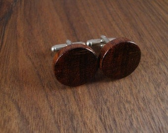 Wooden Round Cuff Links - Snake wood - Wedding, anniversary, any Special Occasion