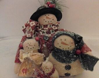 Handmade, Christmas, Snowman Family, Home Decor